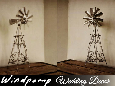 Windpompies - Jou eg Suid Afrikaanse Pompie! - 30cm high handmade windmills. Very popular as table decorations at weddings.